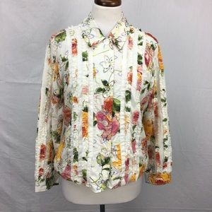 Coldwater Creek Ivory Floral Print Ruffle Top